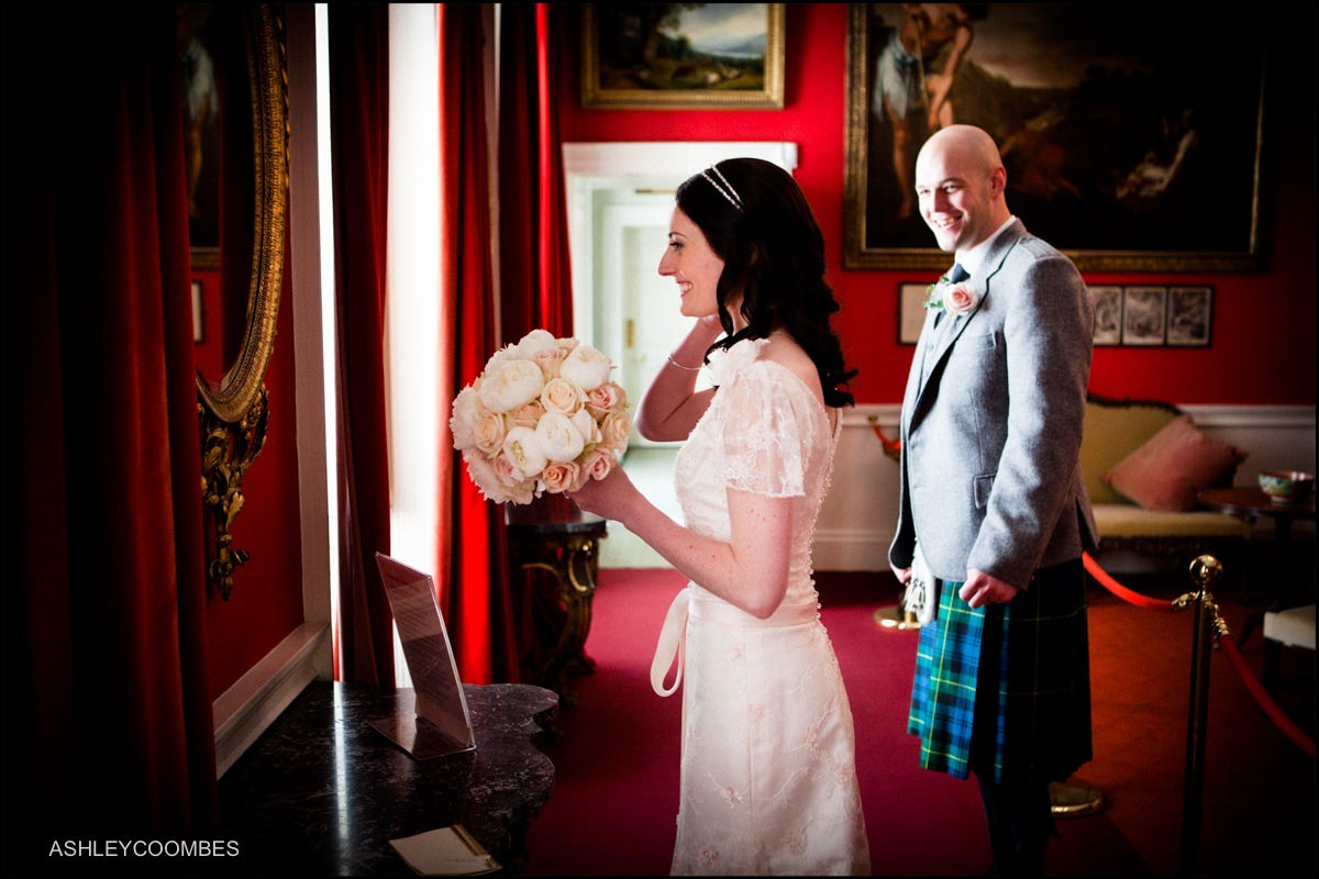 Pollok house bride and groom