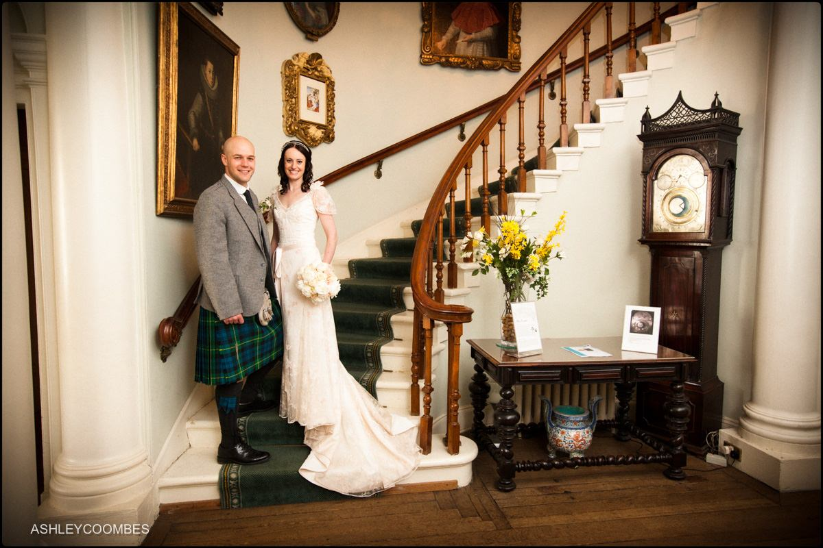 Bride and groom Pollok House stairs