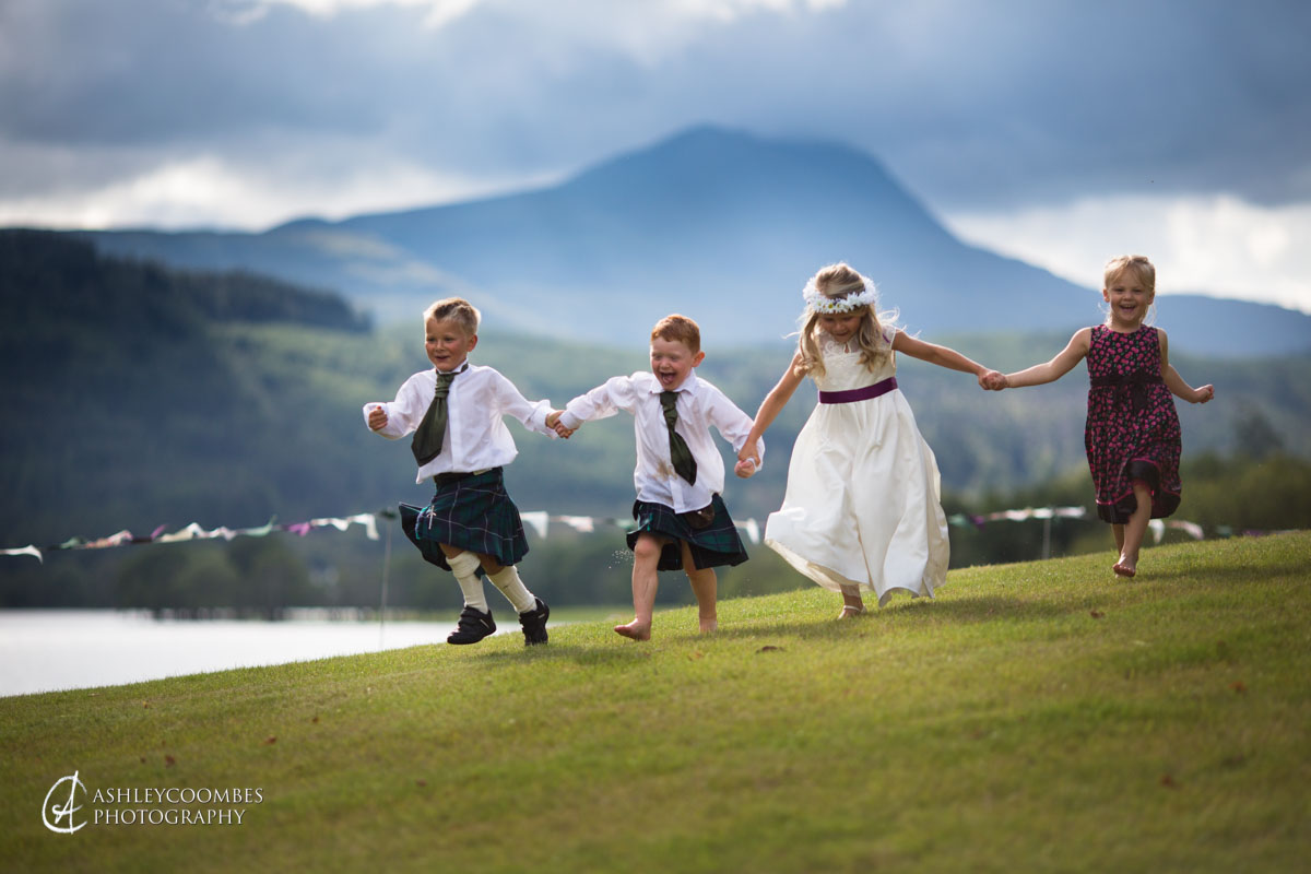 flower girls and page boys running