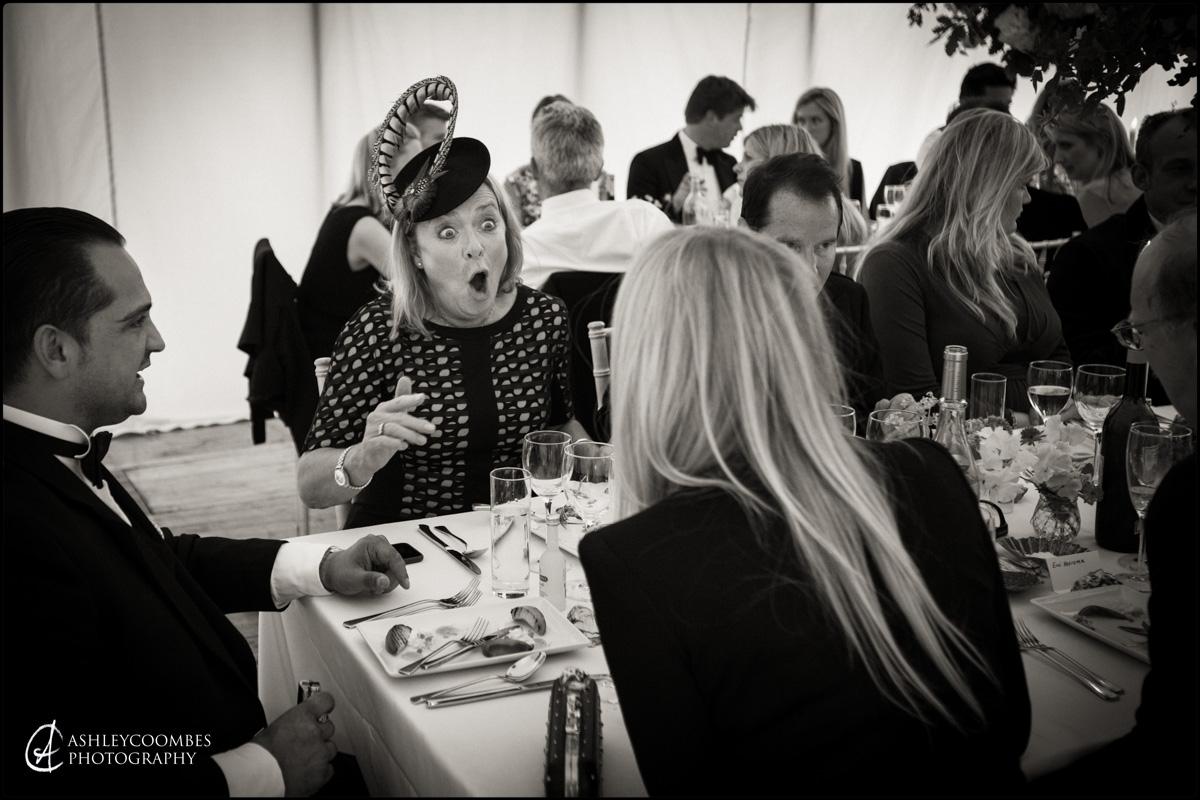 Telling a joke during wedding breakfast
