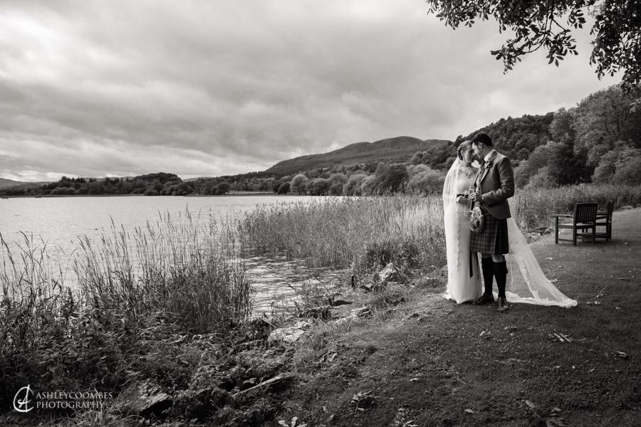 Lake of Menteith wedding portrait