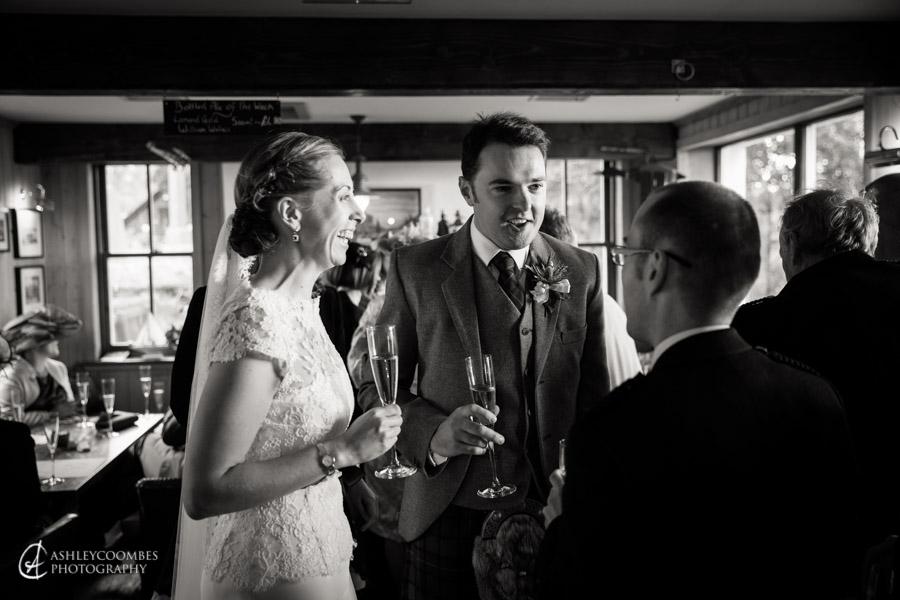 Lake of Menteith wedding reception bride groom