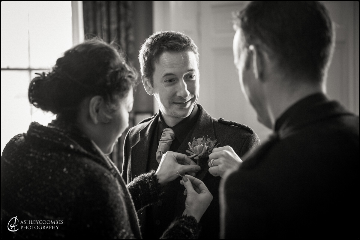 Winton House wedding groom preparations