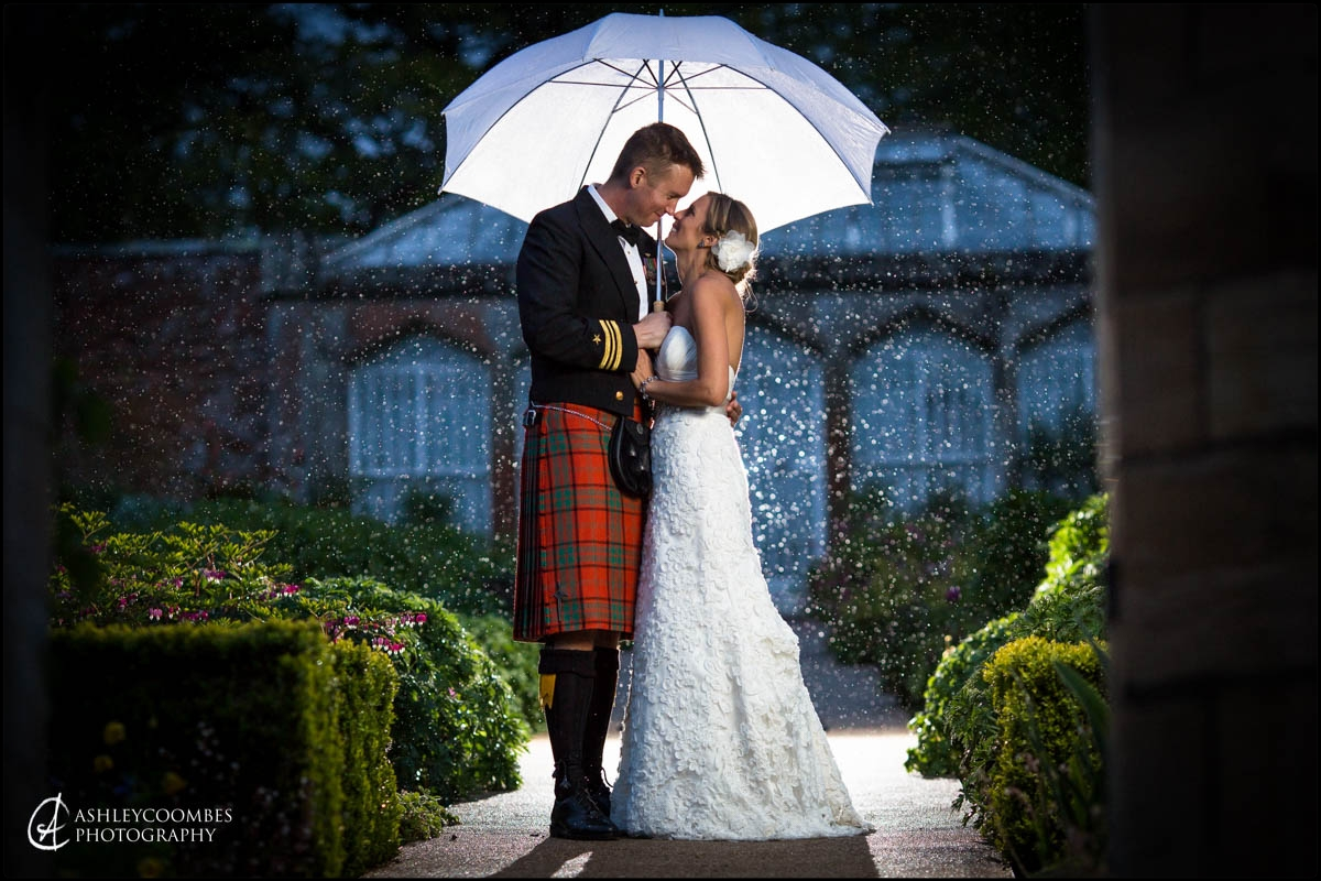 Abbotsford wedding rain bride groom portrait