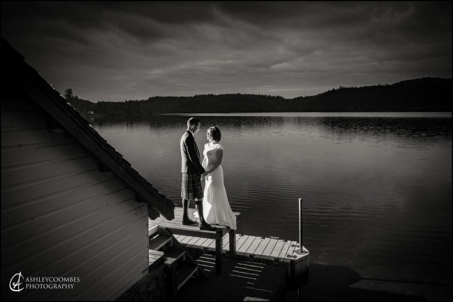 black and white wedding portrait loch ard
