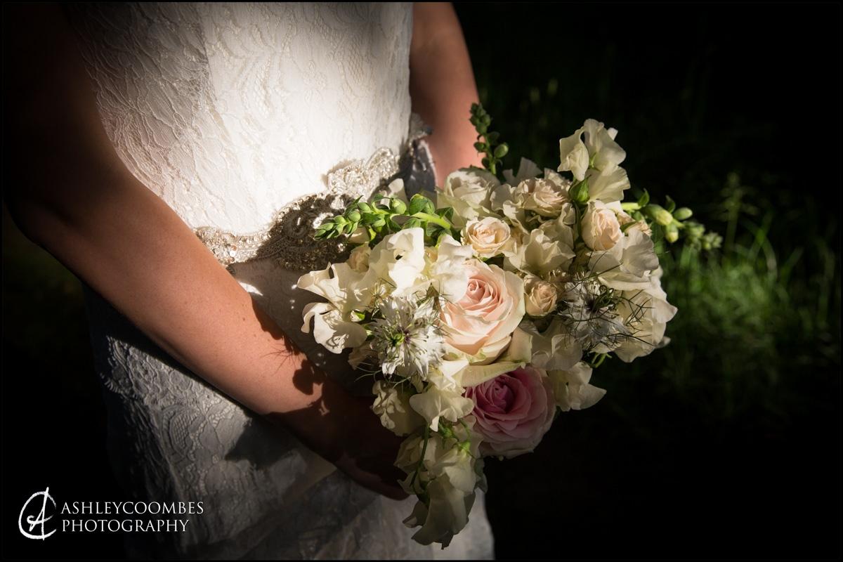 Bride's bouquet in evening sunshine