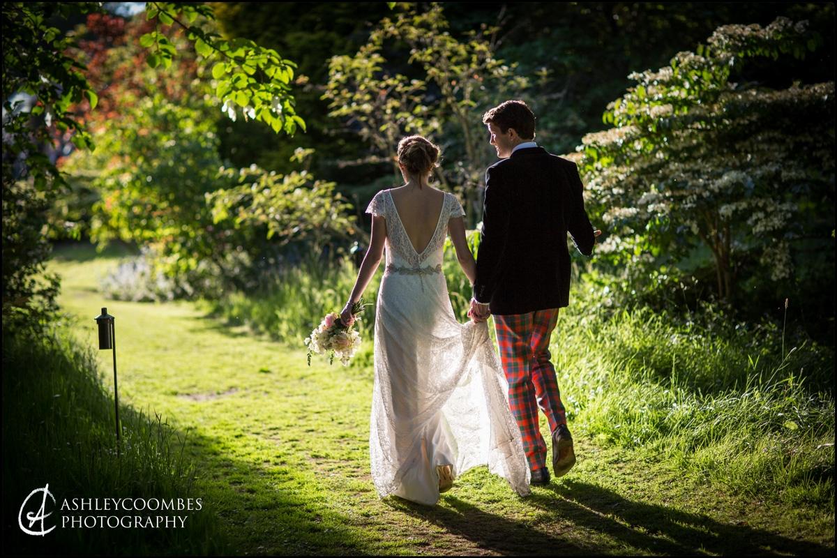 Bride and Groom evening sunlight stroll