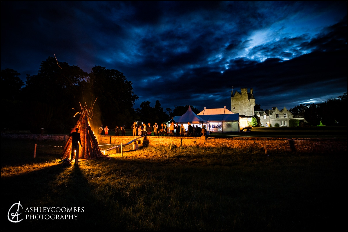Midsummer wedding bonfire