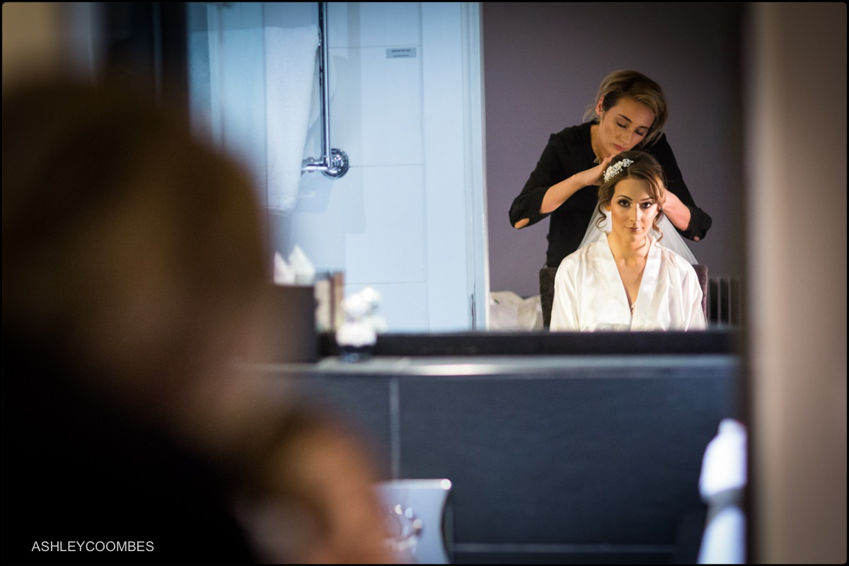 Natalie getting ready at Malmaison