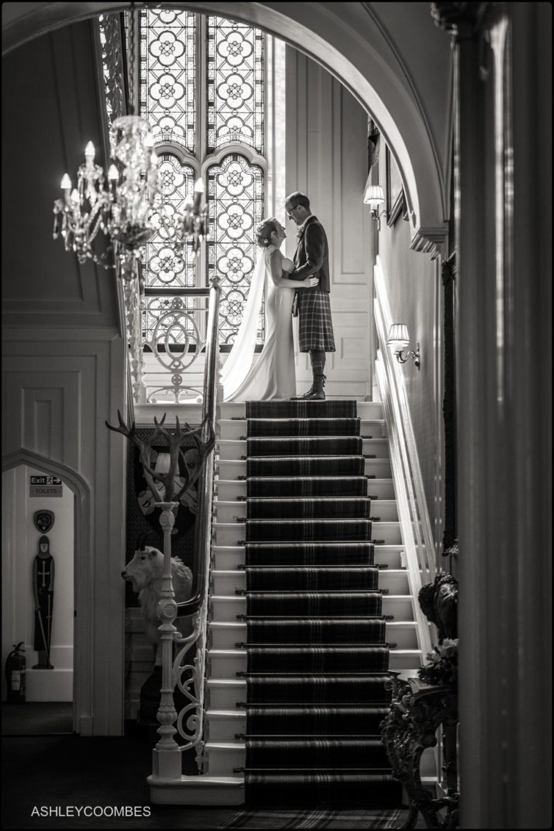 Drumtochty Castle wedding staircase portrait