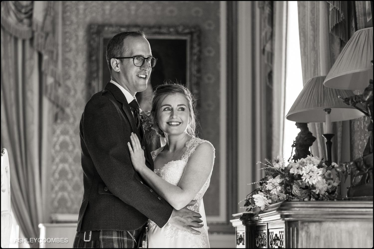 black and white wedding portrait