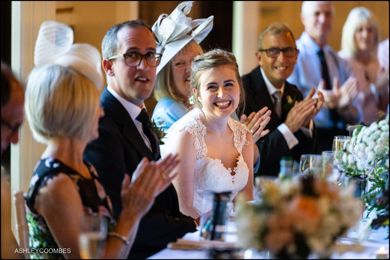bride laughs at speeches