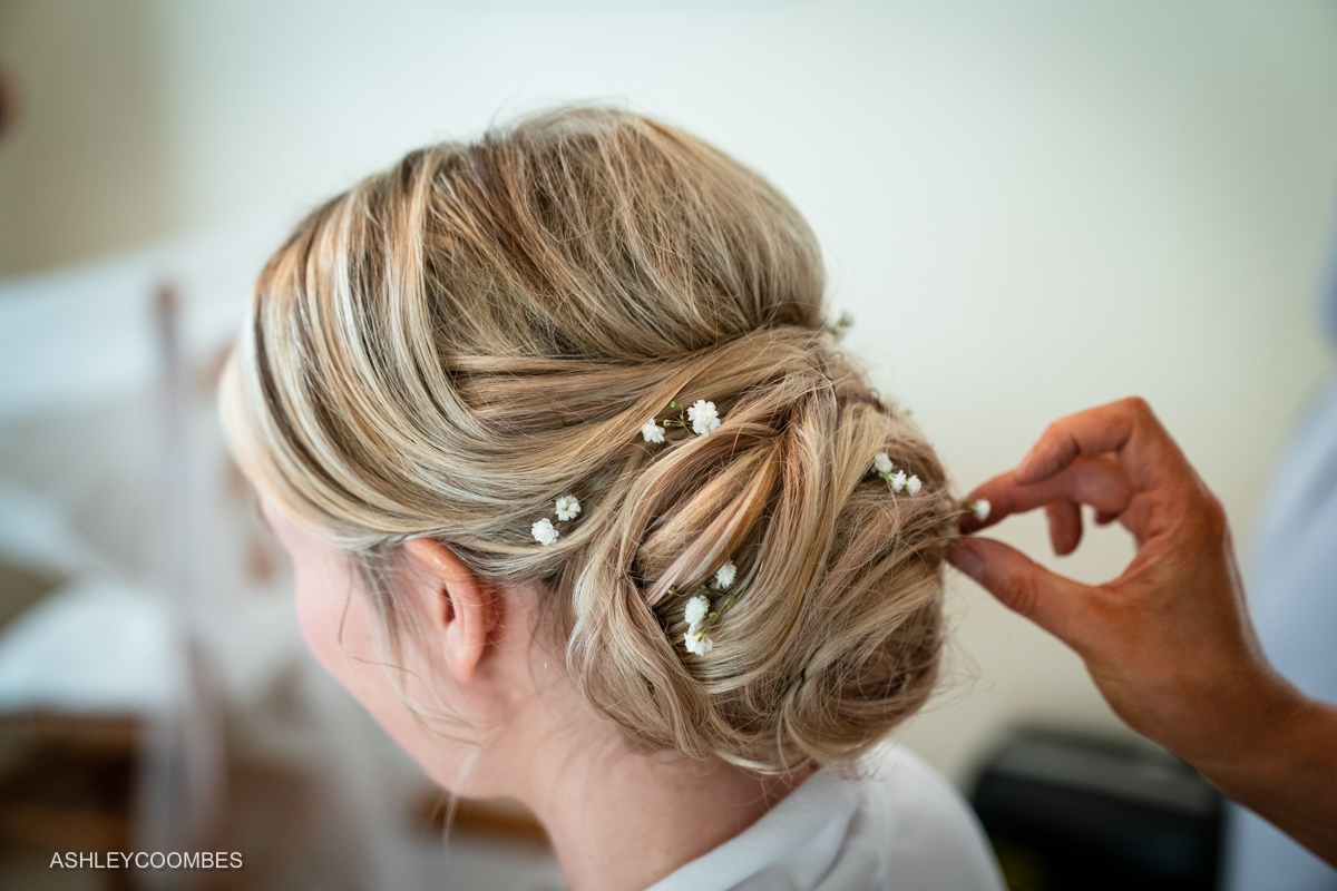 flowers in bride's hair