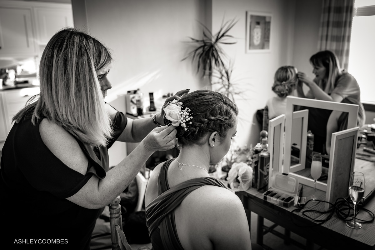 Bridal preparations hair and makeup
