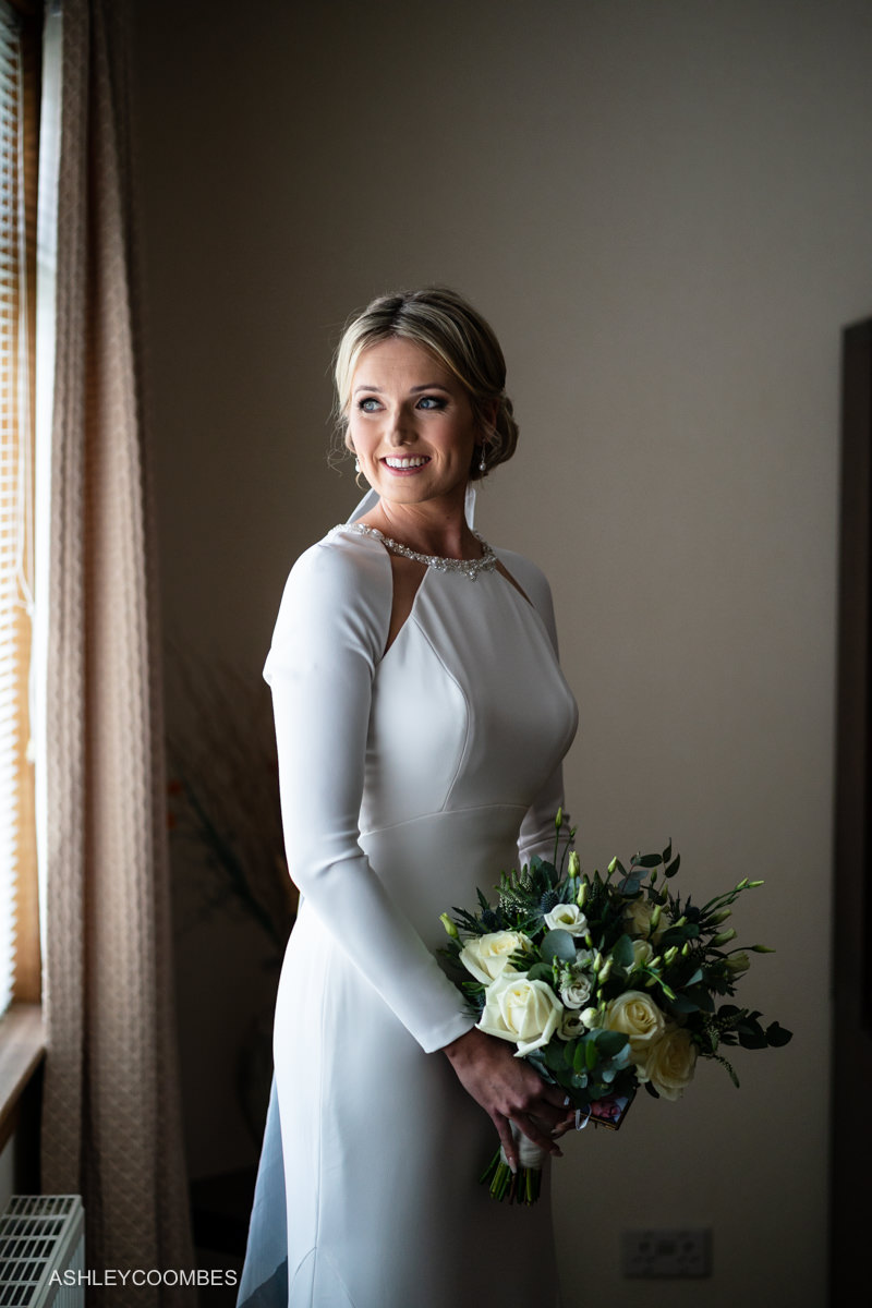 Bride portrait in window light