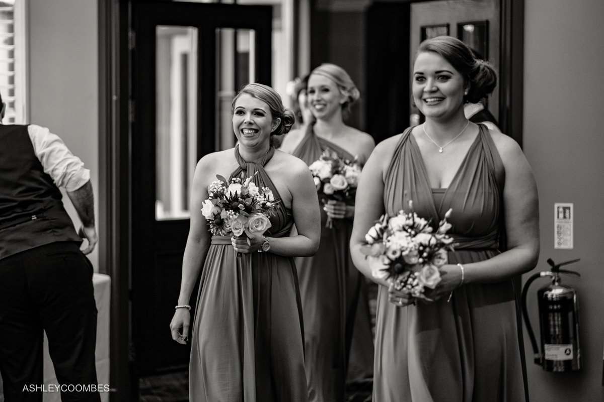 bridesmaids arrive
