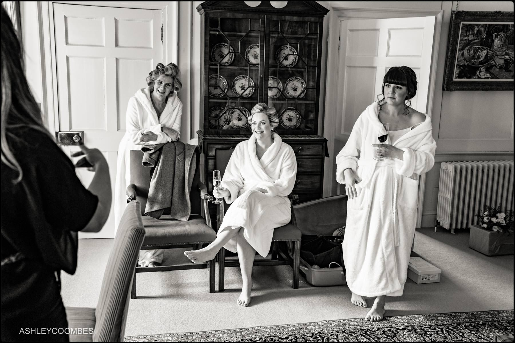 bride mum and bridesmaid in dressing gowns