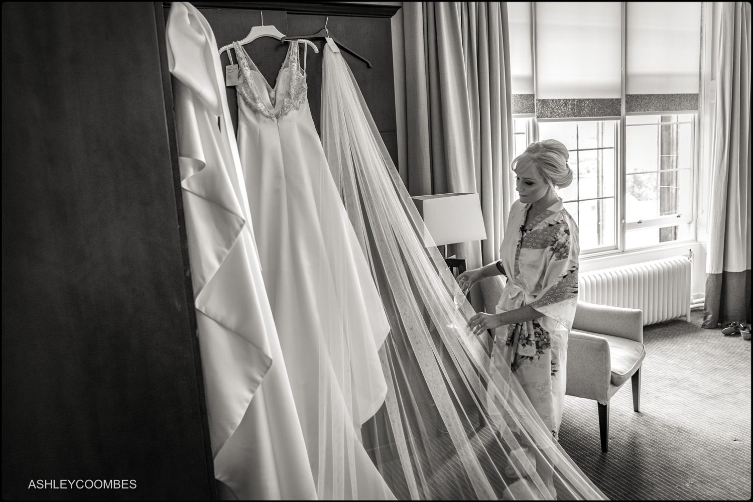 Bride checking her veil