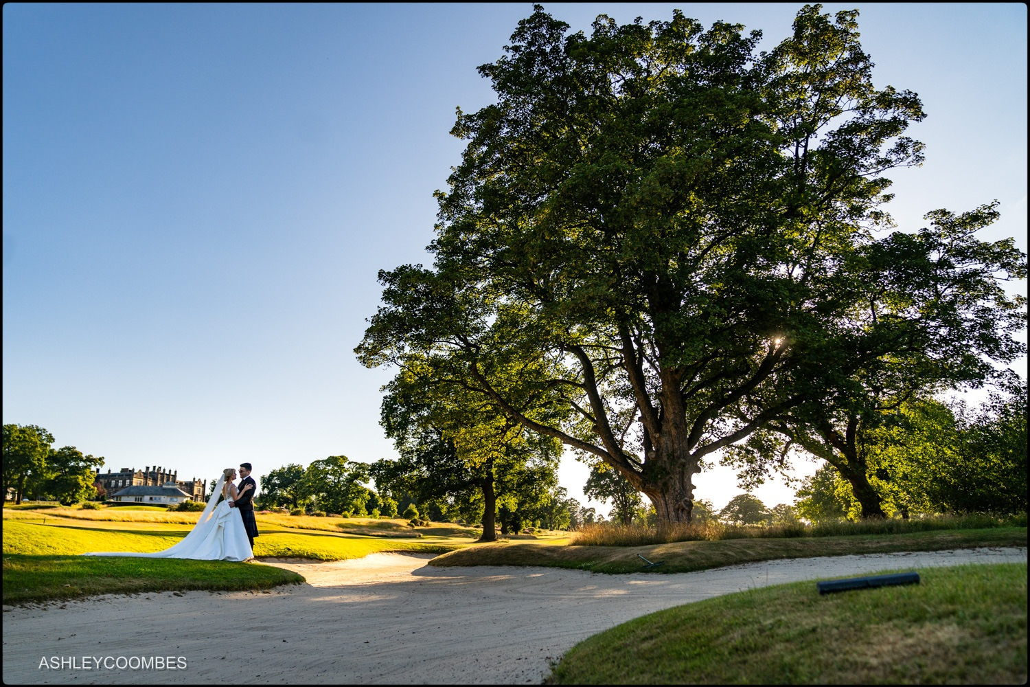 Wedding portraits on golf course