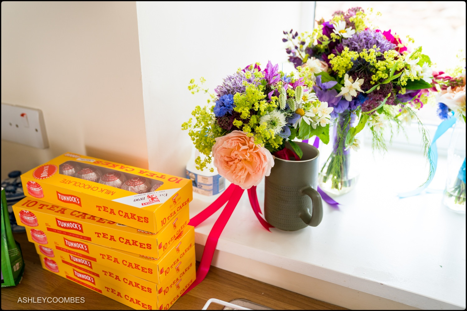 Bouquets and tunnocks tea cakes