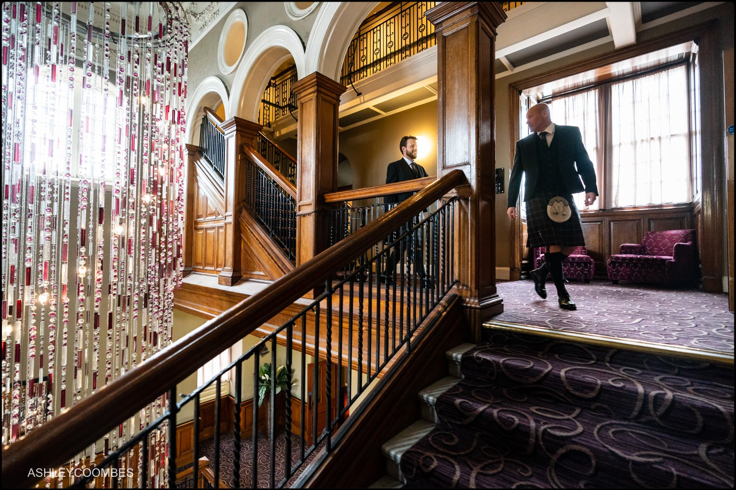 Groom and Best Man on Grand Central Hotel Glasgow staircase