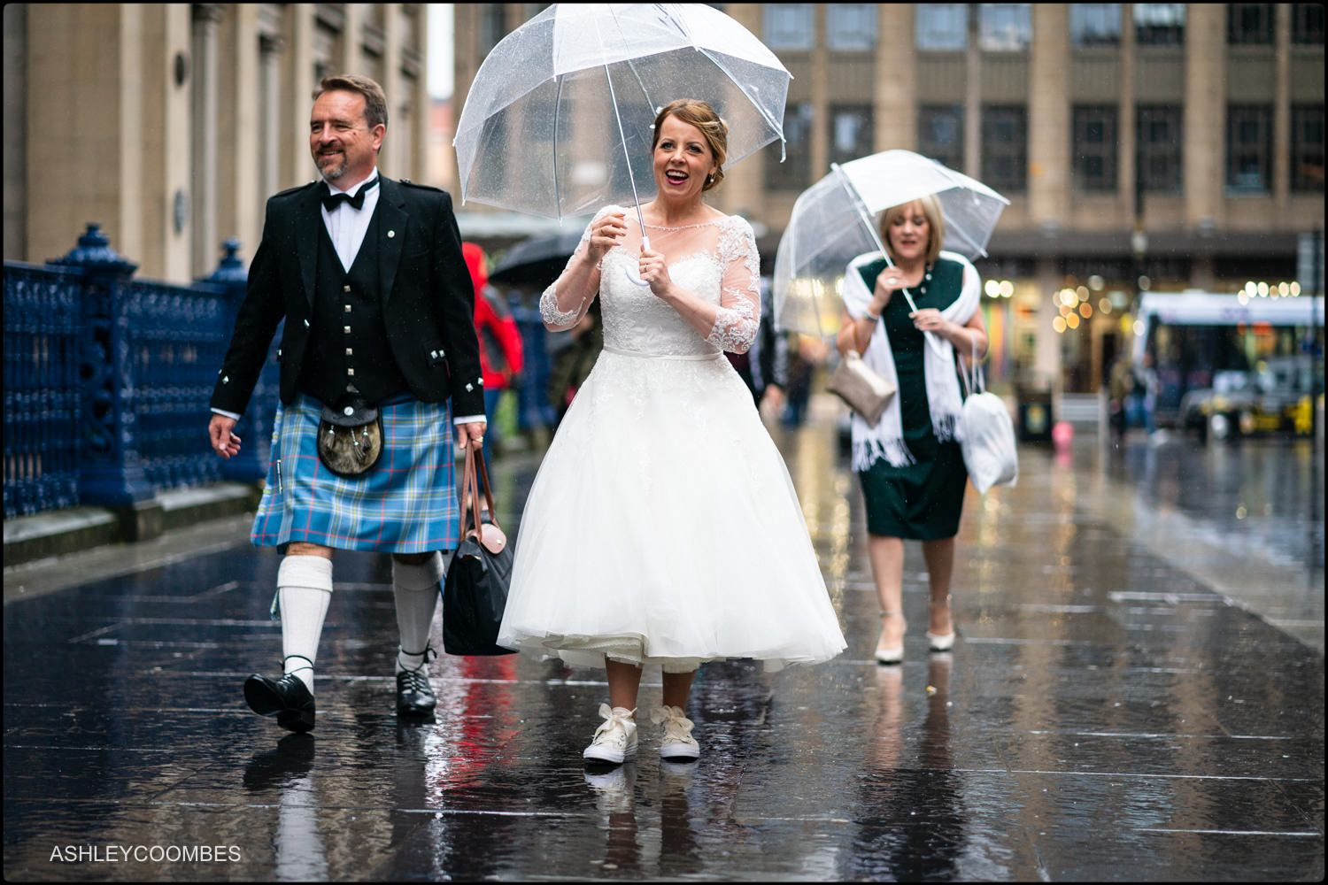 Bride arriving through Royal Exchange Square