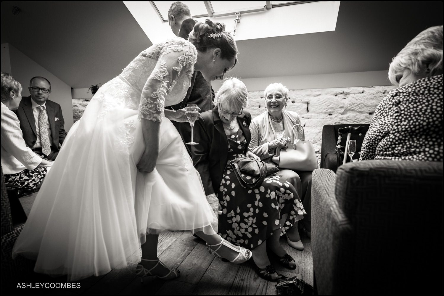 Checking out bride's shoes