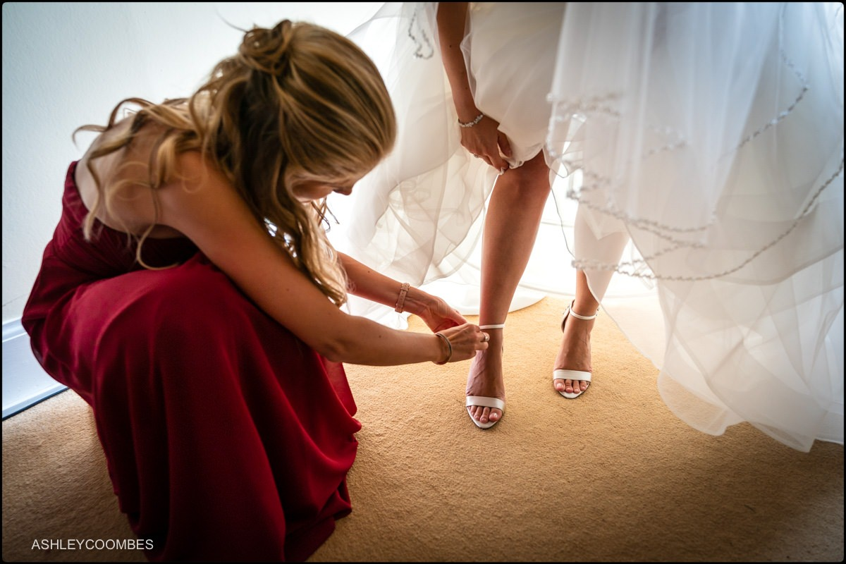 bride's shoes on