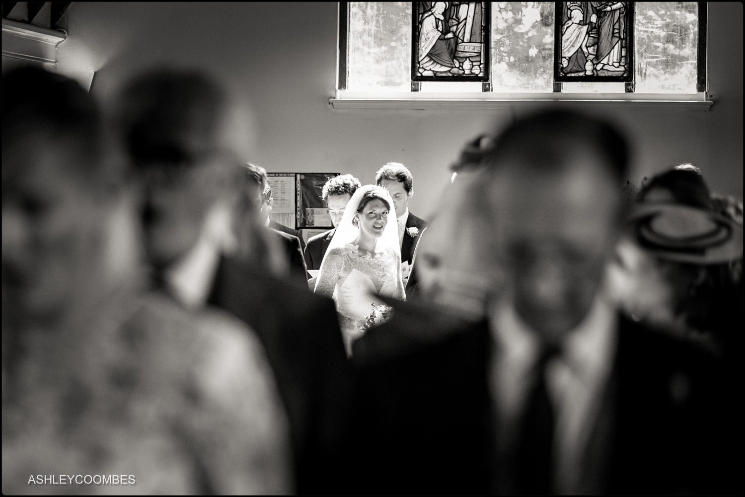 bride arrives in church