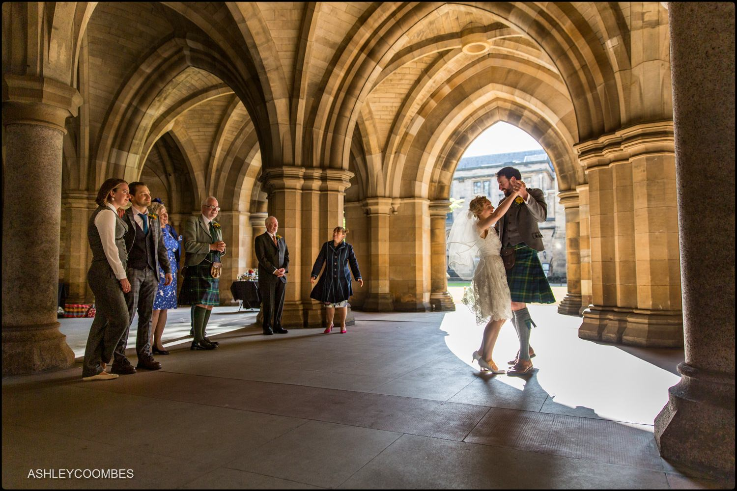 Glasgow Uni cloisters dance documentary wedding photographer