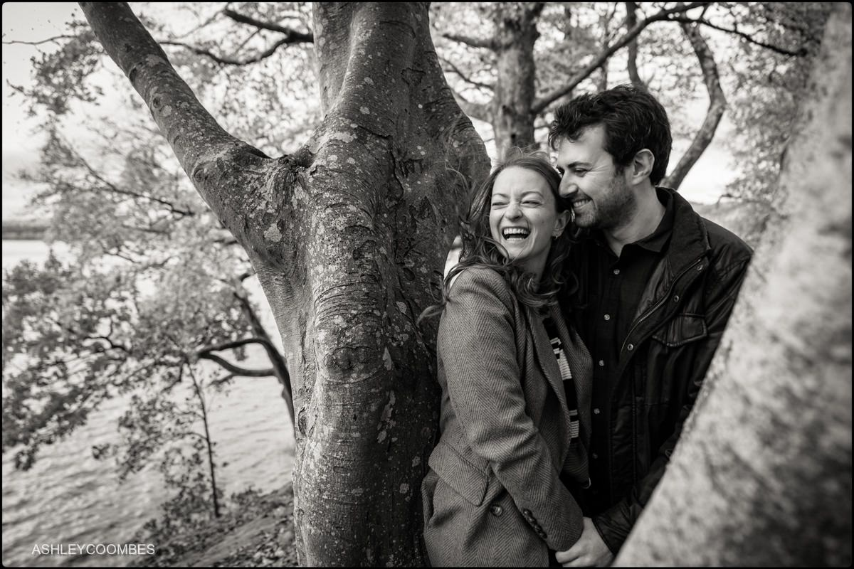 couple by old tree black and white