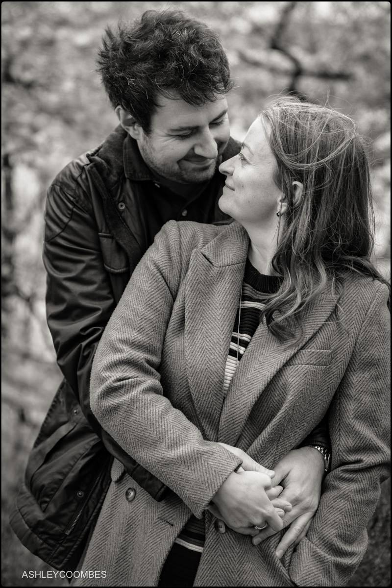 relaxed engagement portrait